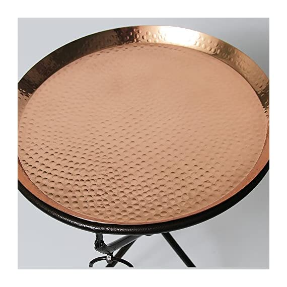 Copper Drink Tray Table for Living Room, Kitchen and Patio by Alchemade - PERFECT ACCENT: This End Table Measures 19.5 Inches Tall by 15.25 Inches Wide. It is the perfect size to easily move and transport if needed! TWO PIECES: The 100% High Quality Copper Tray is Easily Removed From The Base for Transport. Perfect for Tailgating or for Patio Parties! PERFECT GIFT: The Copper End Table by Alchemade Makes the Perfect Gift for Anyone on Your List and is Sure to Impress! - living-room-furniture, living-room, end-tables - 51 AcV6kuwL. SS570  -