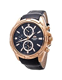 Orient Men's 46mm Blue Leather Band Rose Gold Plated Case Quartz Analog Watch FUY01005D0