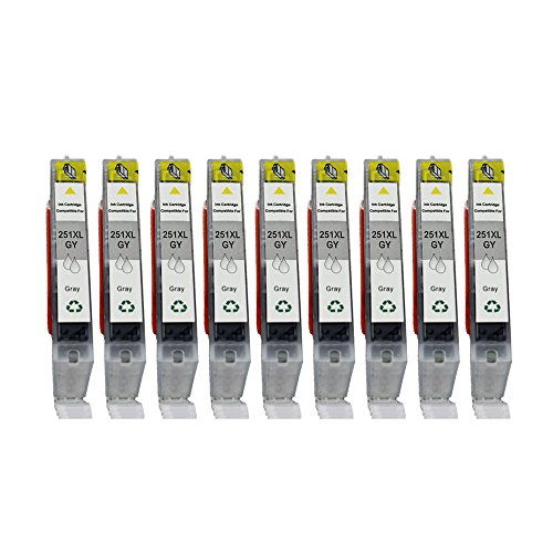 YATUNINK 9 Pack CLI-251XL Gray/Grey Compatible Ink Cartridges (9xGY) Replacement For Cannon PIXMA MG5420 PIXMA MG5450 PIXMA MG6320 PIXMA MG6350 PIXMA MX722