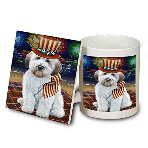 4th of July Independence Day Firework Wheaten Terrier Dog Mug and Coaster Set MUC52462 (Safe Coasters Independence Dishwasher)