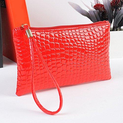 Woopower Envelope Clutch cocodrilo patrón bolso Lady bolso de mano bolso impermeable tipo cartera bolso de mano, rojo vino rojo vino