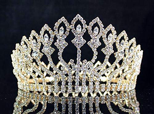 - Janefashions Floral Full Crown Clear White Austrian Rhinestone Crystal Tiara Pageant Queen Princess Headpiece Hair Combs Prom Large Gold T1406g