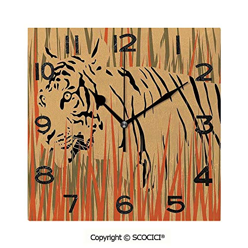 SCOCICI 8 inch Square Clock Tiger in The Bushes Camouflage Carnivore Predator Feline Africa Animal Art Unique Wall Clock-for Living Room, Bedroom or Kitchen Use