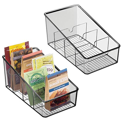 mDesign Plastic Food Packet Organizer Bin Caddy - Storage Station for Kitchen, Pantry, Cabinet, Countertop - Holds Spice Pouches, Dressing Mixes, Hot Chocolate, Tea, Sugar Packets, 2 Pack - Smoke Gray