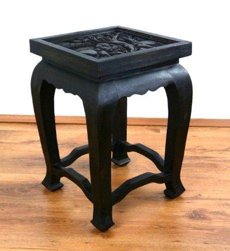 Opiumtisch in schwarz 36 x 36 x 50cm (hoch), Beistelltisch bzw. Couchtisch aus Massivholz. Kolonialstil, asiatisches Möbelstück, Altartisch mit Schnitzerei