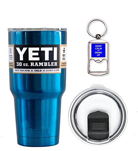 YETI Coolers 30 Ounce (30oz) (30 oz) Custom Rambler Tumbler Cup Mug Bundle with New Magslider Lid (Candy Metallic Blue)