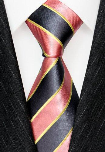 Woven Yellow 84552 Pink Italian Tie Stripes LORENZO Pure Luxury Grey Silk CANA wOxZWXAgq
