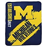 "NCAA Collegiate School Logo Fleece Blanket (Michigan Wolverines, 50"" x 60"")"