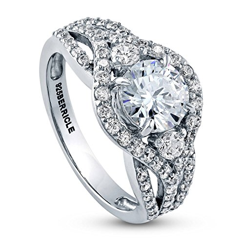 BERRICLE Rhodium Plated Sterling Silver Round Cubic Zirconia CZ Halo 3-Stone Engagement Ring 2.08 CTW Size 5.5