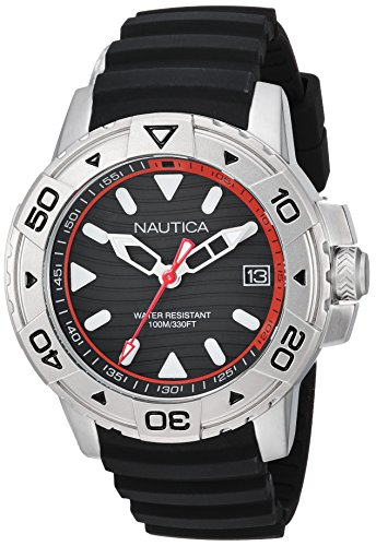 Nautica Men's 'EDGEWATER COLLECTION' Quartz Stainless Steel and Silicone Casual Watch, Color:Blue (Model: NAPEGT001)