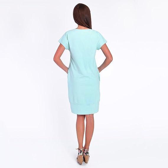Vestido de maternidad de bolsillo de color puro de manga corta para mujer ropa premamá moderna: Amazon.es: Ropa y accesorios