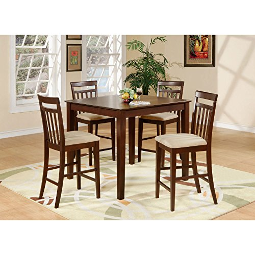 Five Piece Counter - East West Furniture EAWE5-MAH-C 5-Piece Counter Height Table Set, Mahogany Finish