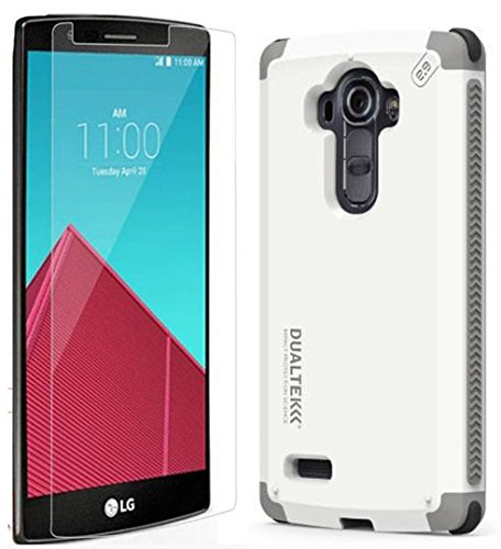 Arctic White Glass - LG G4 Case/Glass Combo, Puregear [Arctic White] Dualtek Extreme Impact Rugged Case Cover + Tempered Glass Screen Protector for LG G4 Phone (F500, H810, H811, H815, LS991, VS986)