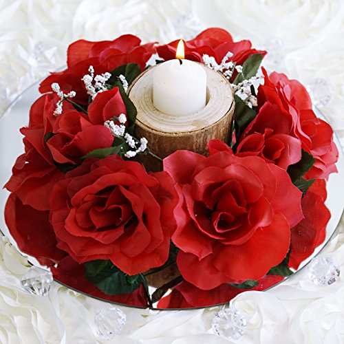 - BalsaCircle 8 Red Silk Roses Candle Rings - Artificial Flowers Wedding Party Centerpieces Arrangements Bouquets