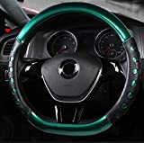 Amuahua D-Shaped Genuine Leather Car Steering Wheel Cover Universal 15 inch/38CM Breathable for Auto/Truck/SUV/Van (Green)