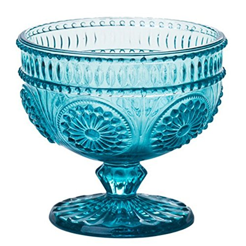 Keypro Flower Embossed Glass Footed Ice Cream Bowl, Dessert Bowl, Trifle Bowl, Cocktail Glass for Home Party, Wedding and Gift, 9OZ, 1 Piece (Ice Blue)