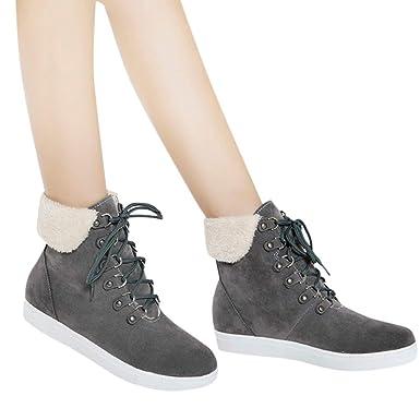 JiaMeng Botines Calentar Pelaje Botas De Nieve Atada Zapatos de algodón Zapatos Casuales con Cordones Planos y con Botas para la Nieve Bota Caliente: ...