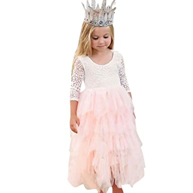 593605f5336 Amazon.com  Lurryly 2019 Baby Girls Lace Backless Formal Princess Net Yarn  Tutu Party Dress Clothes 2-7T White  Clothing