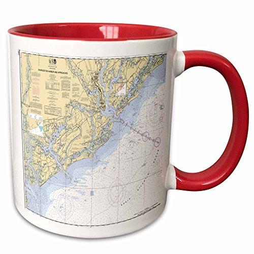 (3dRose Florene - Nautical Map Décor - Print of Charleston Harbor Nautical Chart - 15oz Two-Tone Red Mug (mug_204862_10))