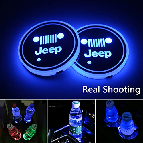 2pcs LED Car Cup Holder Lights, 7 Colors Changing USB Charging Mat Luminescent Cup Pad, LED Interior Atmosphere Lamp for (Jeep -