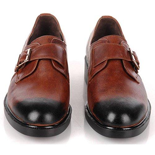 Epicstep Mens Handmade In Vera Pelle Abito Formale Business Casual Velcro Mocassini Scarpe Oxford Marrone