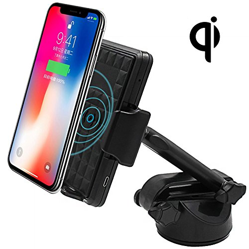 Price comparison product image Wireless Charger Car Mount, 2-in-1 Qi Fast Wireless Charging , Air Vent CellPhone Bracket, Windshield Smartphone Holder, fit for Samsung Galaxy S8, S7, Note 8, IPhone 8, iPhone X and more.
