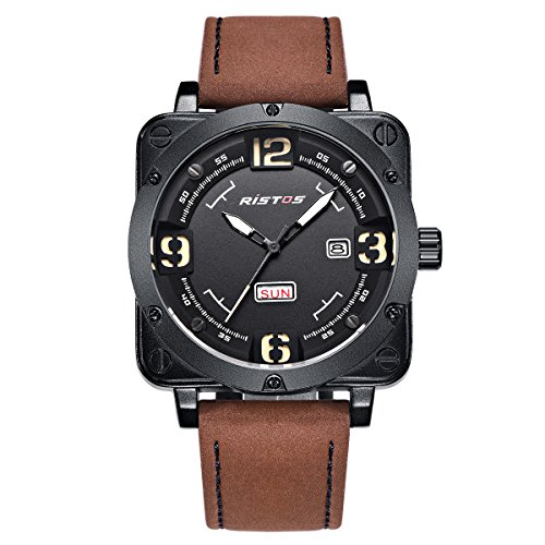 LONGBO Men's Unique Big Face Analog Quartz Square Case Watch Brown Leather Band Business Wrist Watches Sportive Luminous Waterproof Auto Date Day Calendar Army Military Watch for Man -