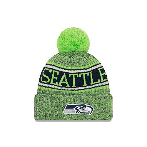 Dragon Striped Beanie - New Era 2018 NFL Seattle Seahawks Reverse Sport Stocking Knit Hat Winter Beanie