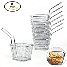 YaeKoo 8 PCS Mini Mesh Wire French Fry Chips Baskets Net Strainer Kitchen Cooking Tools