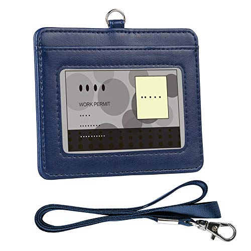 Badge Holder, Arae PU Leather ID Badge Card Holder with Detachable Lanyard/Strap (Horizontal, Blue)