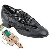 Women's Ballroom Dance Shoes Salsa Latin Practice Dance Shoes Black leather 2009EB Comfortable - Very Fine 1.5'' Heel 7.5 M US [Bundle of 5]