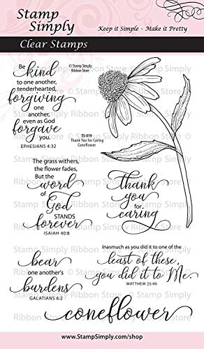 (Stamp Simply Clear Stamps Thank You for Caring Coneflower Garden Flower Christian Religious 4x6 Inch Sheet - 7 Pieces)