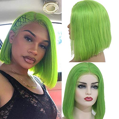 Myfashionhair Wigs for White Women Silky Straight Human Hair Half Wigs 10 inch 180% Density Best Lace Front Wigs with 13x4 Swiss Lace, Middle Part Lace Wig (Lime - Half Front Wigs Lace