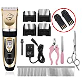 Dog Grooming Clippers Pet Hair Trimmers-Professional Rechargeable Low Noise Cordless dog cat Grooming Clippers-(2017 New Arrival) HOOCHYE