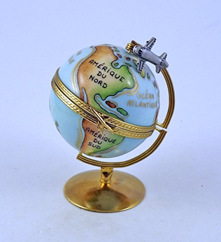 Authentic French Porcelain Hand Painted Limoges Box Amazing Globe with Detailed World Map and Miniature Removable Airplane
