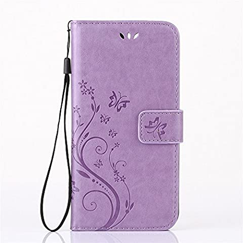 Galaxy S7 Wallet Case - SUMOON Fashion Floral Butterfly Embossed Premium PU Leather Magnetic Flip Cover With Card Holders & Hand Strap for Samsung Galaxy S7 - Crystal Quilted Jacket