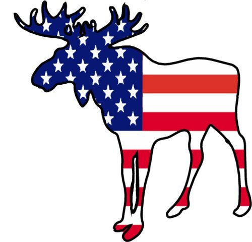 WickedGoodz American Flag Moose Vinyl Window Laptop Decal - Moose Bumper Sticker