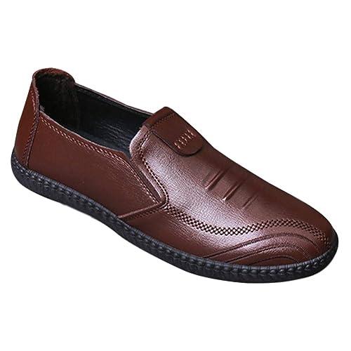 Tenthree Zapatos para Hombre Mocasines - Náuticos Plano Ligero Confortable Suela Blanda Cuero Casual Respirable Zapatos de Conducir: Amazon.es: Zapatos y ...