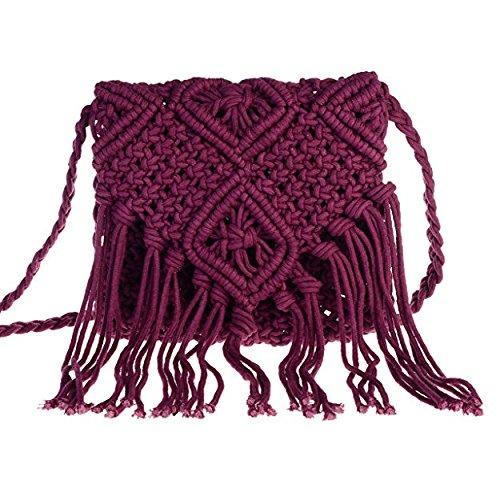 Bag Bag Beach Back Brick Bohemian Women Shoulder Crochet school Necessity Body Cross to Tassel Hollow Out Girls Bag Red Fringed Woven wwZUg