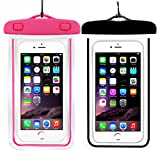 (2Pack) Universal Waterproof Case, CaseHQ Cellphone Dry Bag Pouch for iPhone 7 6s 6 Plus, SE 5s 5c 5, Galaxy s8 s7 s6 Edge, Note 5 4,LG G6 G5,HTC 10,Sony Nokia up to 6.0'' Diagonal-Black+Pink