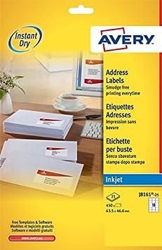 Avery J8169-25 Quick Dry Etichette, 4 Pezzi per Foglio, 25 Fogli, 99.1 x 139, Bianco 572084