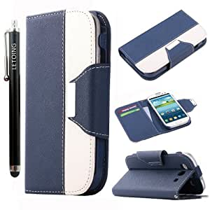 LETOiNG-93PJ54E Wallet Leather Carrying Case Cover With Credit ID Card Slots/ Money Pockets For Samsung Galaxy S3/i9300-Navy Blue+White