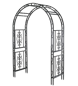 Charming Montebello Iron Garden Arbor Burnished Bronze Finish