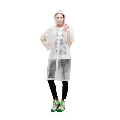 HX fashion Bolsillos Delanteros De La Chaqueta De Lluvia Basic De Las Mujeres Color Sólido con Botones De Cordón Impermeable con Capucha Impermeable De La Lluvia Impermeable Ropa: Ropa y accesorios