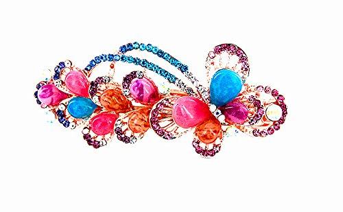 Yeshan Rhinestone Butterfly Barrettes Multicolors