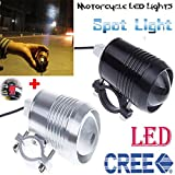 GOODKSSOP Super Bright CREE U2 30W LED Motorcycle Universal Headlight Work Light Driving Fog Spot Lamp Night Safety Headlamp + 1pcs Switch (Black)