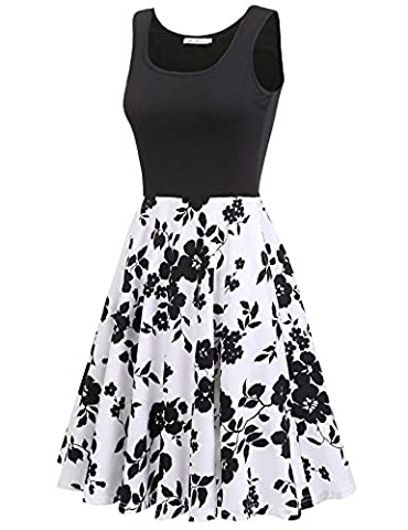 Macr&Steve Women's Summer Sleeveless Floral Vintage Swing Cocktail Party Dress,White,XX-Large - Cocktail Dress Jacket