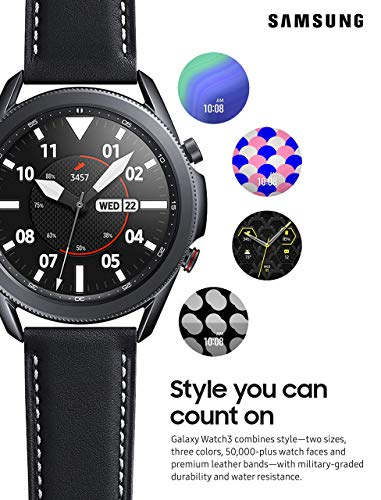 Samsung Galaxy Watch 3 (45mm, GPS, Bluetooth, Unlocked LTE) Smart Watch with Advanced Health monitoring, Fitness Tracking , and Long lasting Battery - Mystic Black (US Version) (Renewed)