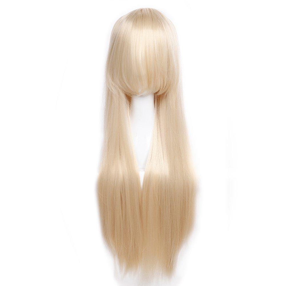 80cm TESS Cosplay Per/ücke Schwarz Lang Karneval Per/ücke Glatt Synthetic Wig Kunsthaar Anime g/ünstig 31