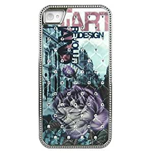 Diamond Look Purple Lotus Pattern Hard Case with Silver Electroplated Frame for iPhone 4/4S